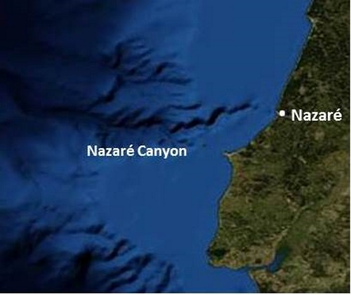 Nazaré North Canyon seen from Satellite