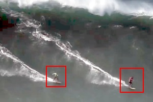 Big and competing waves in Nazaré in October