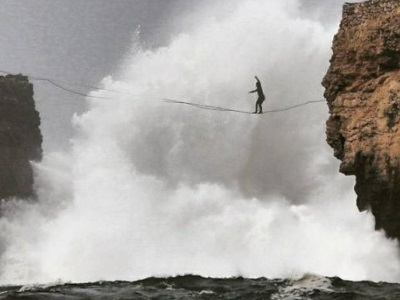 Paddle, bodysurf and slackline in Nazaré